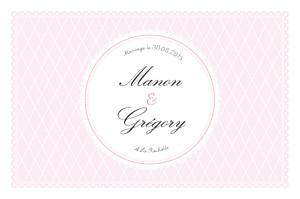 Carton d'invitation mariage beige gourmand raffiné rose
