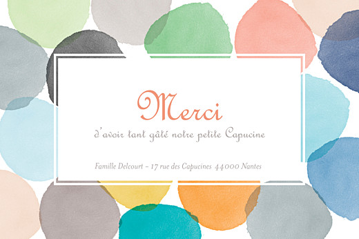 Carte de remerciement Merci aquarelle photo orange - Page 1