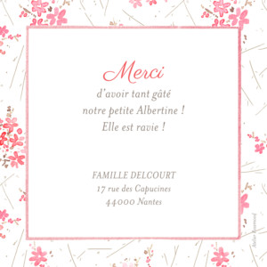Carte de remerciement Petites fleurs des champs photo rose