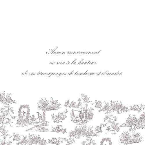 Carte de remerciement mariage Toile de jouy photo taupe