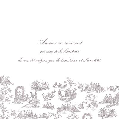 Carte de remerciement mariage Toile de jouy photo taupe finition