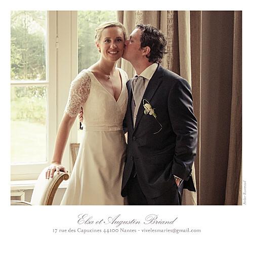 Carte de remerciement mariage Toile de jouy photo taupe - Page 2
