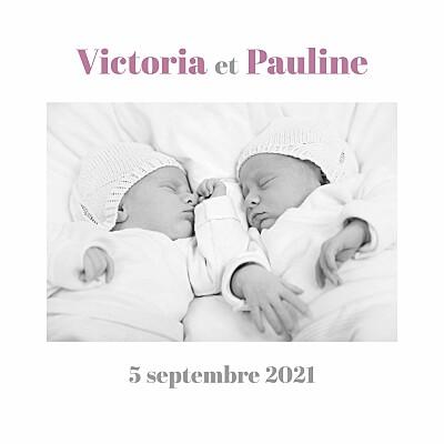Faire-part de naissance Jumeaux 4 photos blanc finition