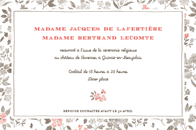Carton d'invitation mariage A cup of tea corail finition