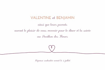Carton d'invitation mariage Tendresse violet finition
