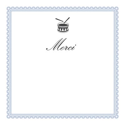 Carte de remerciement Petit tambour photo bleu gris finition