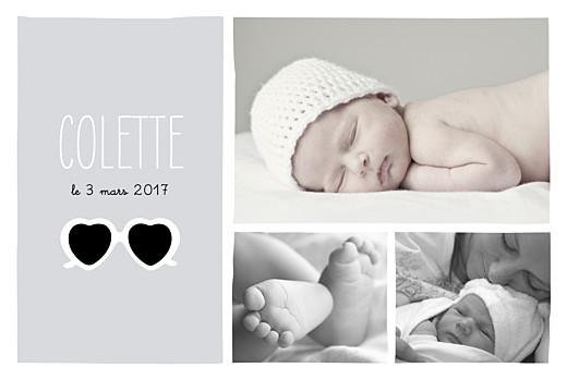 Faire-part de naissance Chérie paysage 3 photos gris blanc