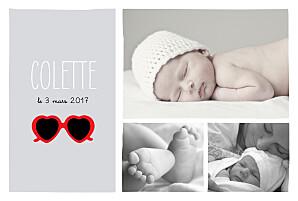 Faire-part de naissance noir et blanc chérie paysage 3 photos gris rouge