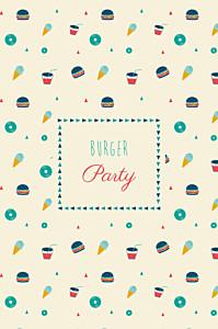 Carte d'anniversaire Burger party photo beige