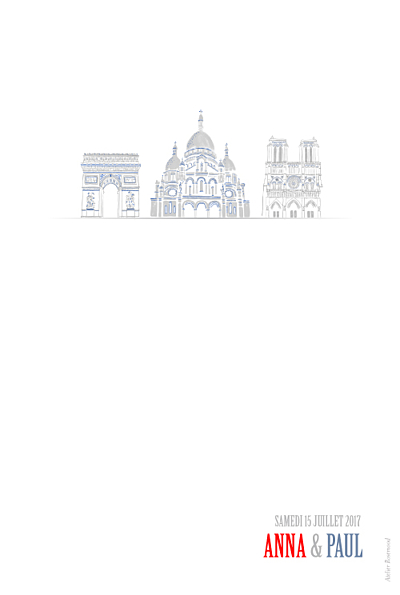 Carte de remerciement mariage Paris photo bleu-rouge-gris finition