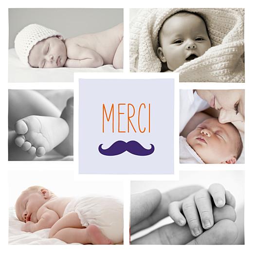 Carte de remerciement Moustache 6 photos indigo