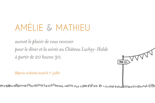 Carton d'invitation mariage Promesse champêtre caravane blanc - Page 2