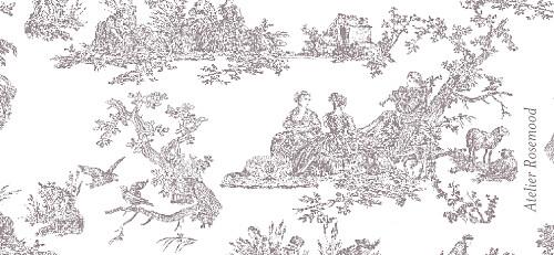 Etiquette perforée mariage Toile de jouy taupe - Page 2