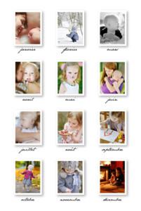 Carte de voeux 12 mois de l'année blanc