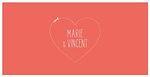 Faire-part de mariage Love and cut ! corail