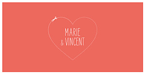 Faire-part de mariage automne love and cut ! corail