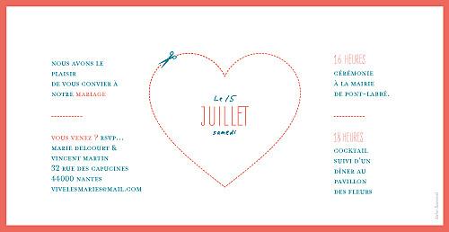 Faire-part de mariage Love and cut ! corail - Page 2