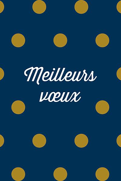 Carte de voeux Pois (3 photos) bleu doré finition