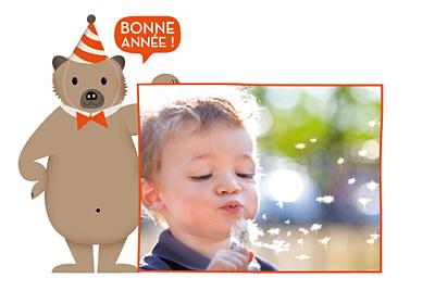 Carte de voeux Nounours orange finition