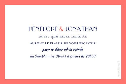 Carton d'invitation mariage Un grand oui ! corail - Page 2
