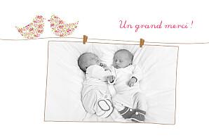 Carte de remerciement fil à linge merci poétique jumeaux rose