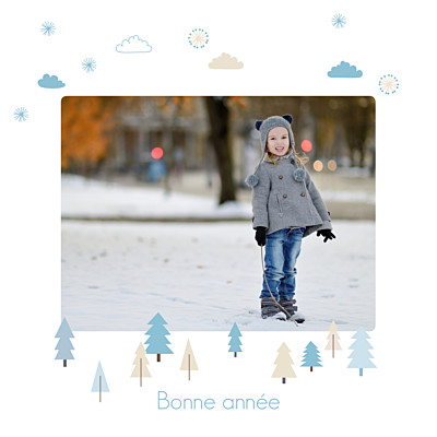 Carte de voeux Winter forest bleu finition