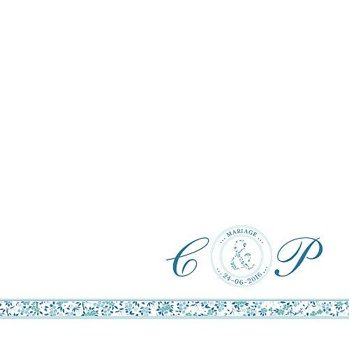 Faire-part de mariage Ruban liberty (carré) bleu