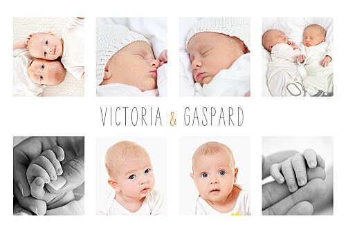 Faire-part de naissance Jumeaux 9 photos blanc