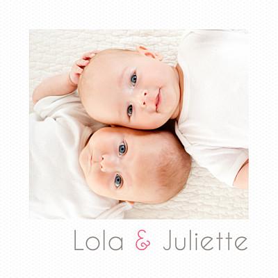 Faire-part de naissance Jumeaux polaroid blanc finition