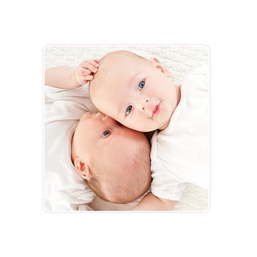 Faire-part de naissance Jumeaux nuit étoilée gris et rose pâle - Page 2
