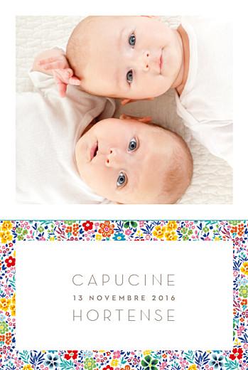 Faire-part de naissance Jumeaux mille fleurs jaune & rouge