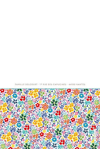 Faire-part de naissance Jumeaux mille fleurs jaune & rouge - Page 4