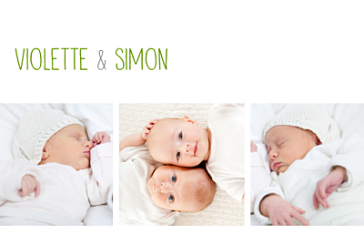 Faire-part de naissance Jumeaux 3 photos blanc finition