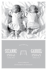 Faire-part de naissance noir et blanc jumeaux balançoire gris