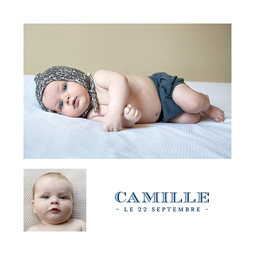 Faire-part de naissance Justifié 2 photos bleu marine - Page 2