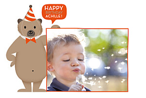 Carte d'anniversaire Nounours orange