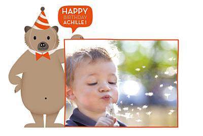 Carte d'anniversaire Nounours orange finition