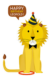 Carte d'anniversaire jaune lion photo (4 pages) jaune