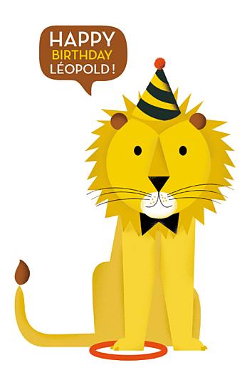 Carte d'anniversaire Lion photo (4 pages) jaune