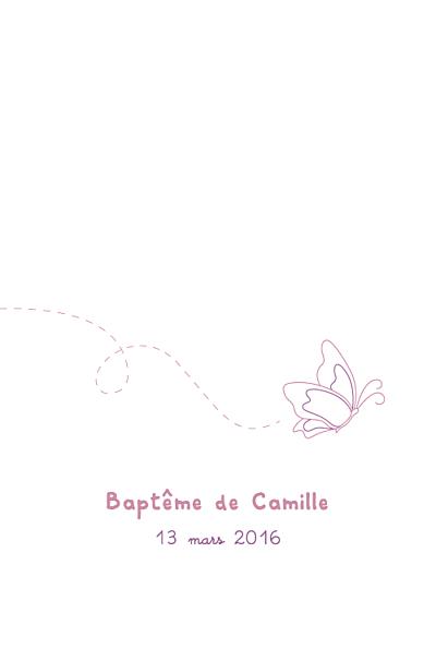 Menu de baptême Papillon prune finition