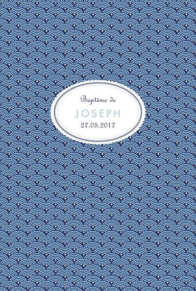 Menu de baptême Pattern écusson (4 pages) bleu finition