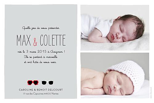 Faire-part de naissance Jumeaux lunettes gris & rouge - Page 2