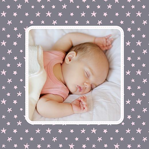Carte de remerciement Merci nuit étoilée photo gris et rose pâle