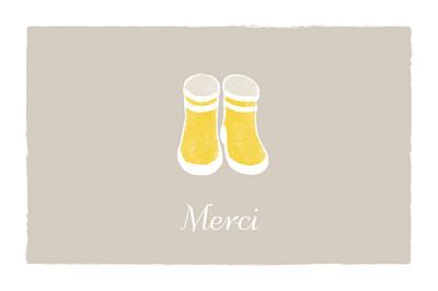 Carte de remerciement Merci balade beige jaune finition