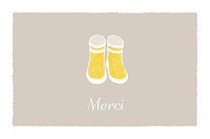 Carte de remerciement petit frère ou petite soeur merci balade photo beige jaune