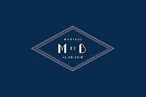 Carton réponse mariage classique monogramme bleu nuit
