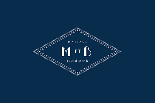 Carton réponse mariage Monogramme bleu nuit