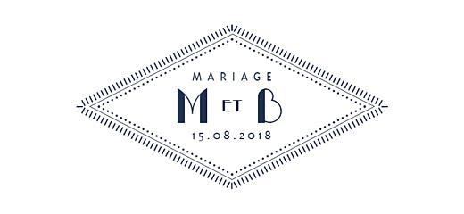 Etiquette perforée mariage Monogramme bleu nuit