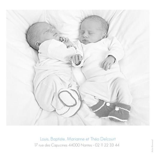 Faire-part de naissance Jumeaux simple 4 photos blanc - Page 4