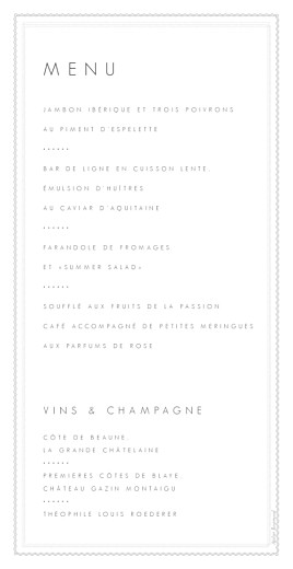 Menu de mariage Design blanc - Page 2